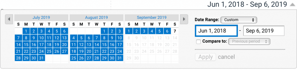 Google Analytics Set Date Range